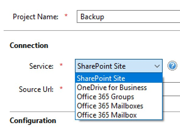 essentials for office 365 backup connection