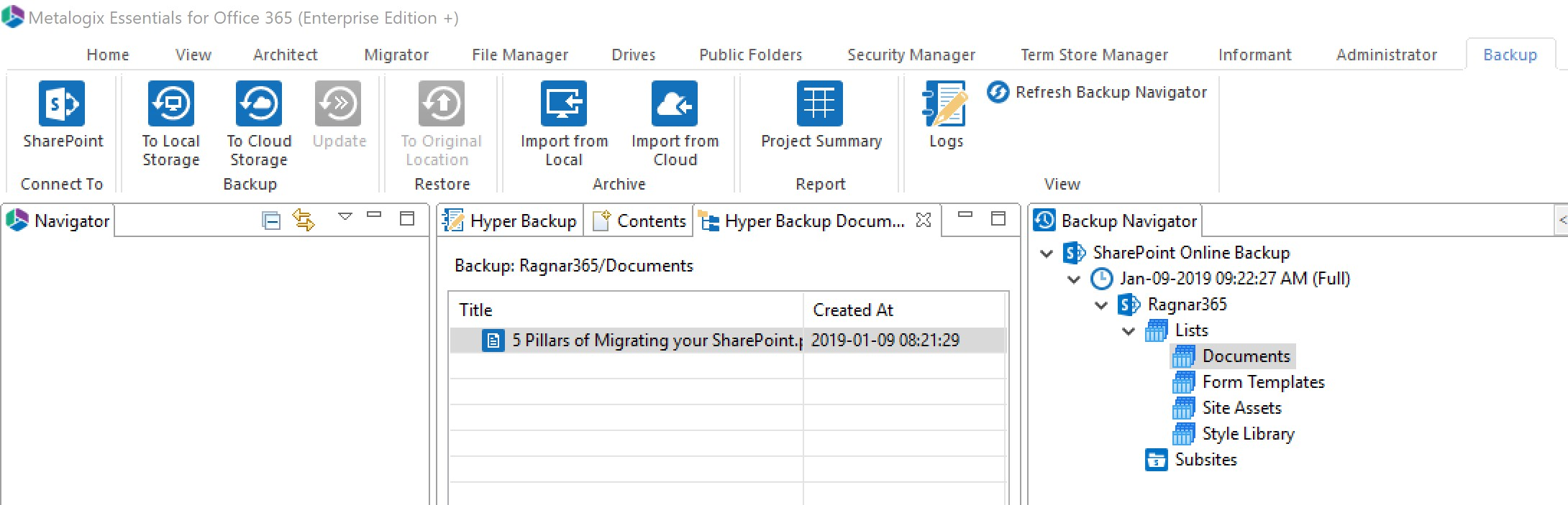 essentials for office 365 backup