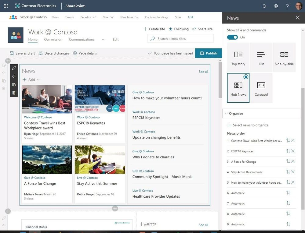 sharepoint organize news
