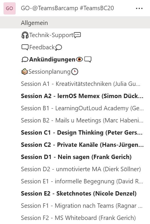 Microsoft Teams Barcamp Channels