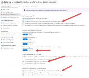Azure AD: externe Identitäten und Einstellungen für externe Zusammenarbeit