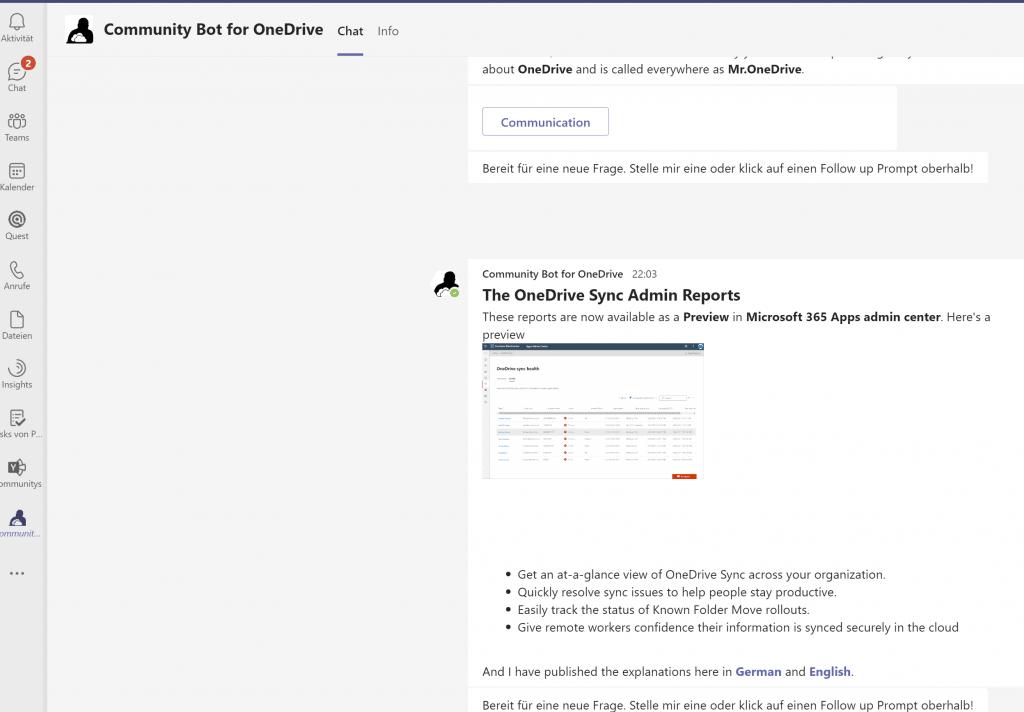 OneDrive Sync Admin Portal Bot