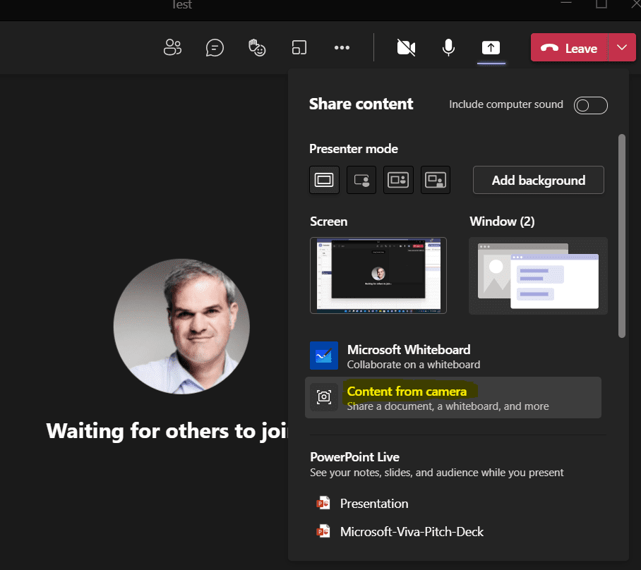 Microsoft Teams Screen Share Content from Camera